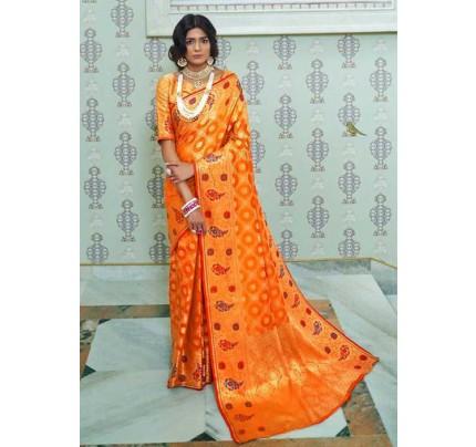 Orange Paithani Silk Traditional Saree