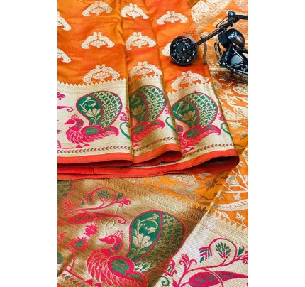 Orange Silk Banarasi Handloom Saree - gnp006425
