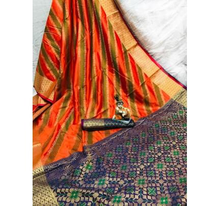 Orange Soft Pure Banarasi Patola Saree with Beautiful Weaving - gnp010053