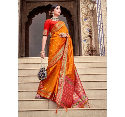 Orange Soft Silk Weaving with Beautiful Designer Border & Pallu Saree - gnp0108752