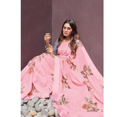 Peach Colored Beautiful Linen Silk Floral Printed Saree Online