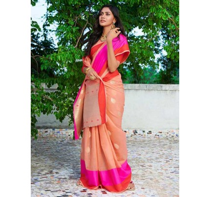 Peach Colored Beautiful Woven Linen Silk Saree - Kavya
