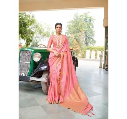 Peach Soft Banarasi Silk Zari Base saree gnp010690