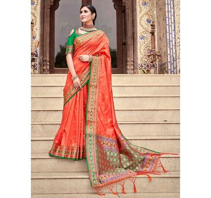 Peach Soft Silk Weaving with Beautiful Designer Border & Pallu Saree - gnp0108753