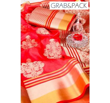 Soft Banarasi silk Weaving Saree gnp007647 - Pink banarasi silk sarees online with price | grabandpack.com