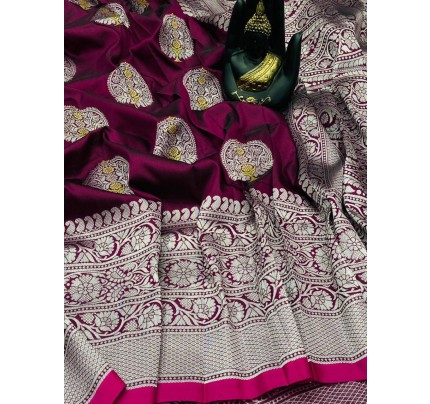 Pink Banarasi Silk Weaving Jacquard Saree With Rich Pallu - gnp009534