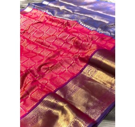 Pink Banarasi Silk With Zari Work Saree - gnp009000