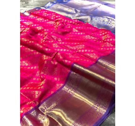 Pink Banarasi Silk With Zari Work Saree - gnp009001