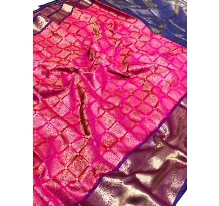 Pink Banarasi Silk With Zari Work Saree - gnp009394