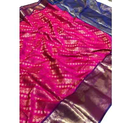 Pink Banarasi Silk With Zari Work Saree - gnp009395