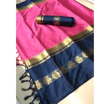 Pink Colored Cotton Silk Saree - Karishma