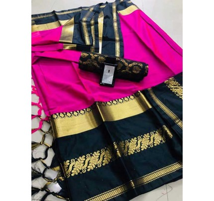 Pink Colored Cotton Silk Saree - Payal