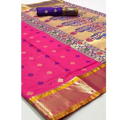 Pink Paithani Silk Traditional Saree