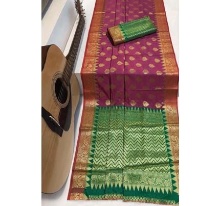 Pink Soft Banarasi Silk Weaving Saree - gnp007954
