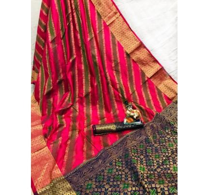Pink Soft Pure Banarasi Patola Saree with Beautiful Weaving - gnp010054