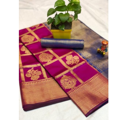 Pink checks zari work banarasi silk saree - party wear sarees for women