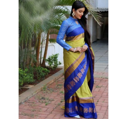 Pista Colored Cotton Silk Saree with Extra Blose Piece - Rich Mayurica
