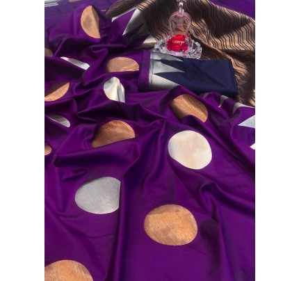 Purple Banarasi Silk Golden And Silver Zari Weaving Saree - gnp008696