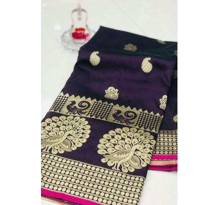 Purple Banarasi Silk Golden Zari Weaving Saree - gnp007948