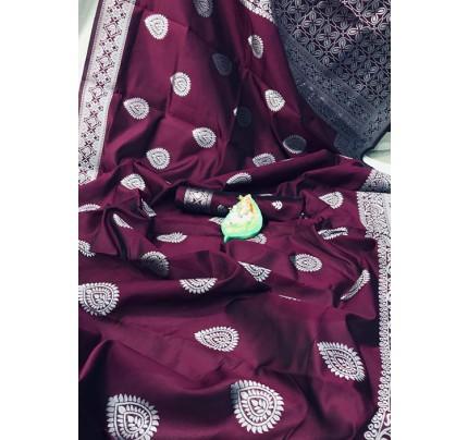 Purple Banarasi Silk Woven Saree with Silver Zari - gnp006178