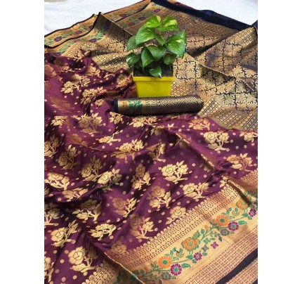 Purple Colored Beautiful Soft Banarasi Silk Mina Work Silk Saree Online