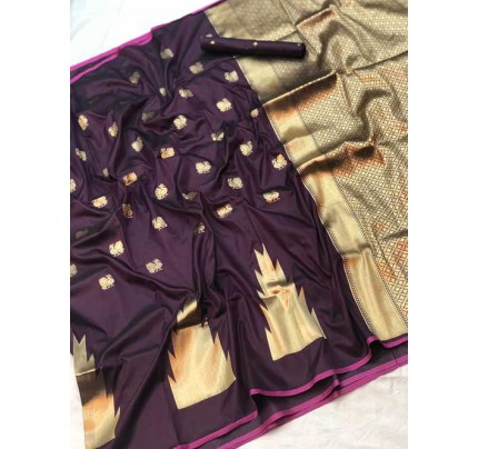 Purple Colored Soft Banarasi Silk Peacock Butta Weaving Saree  Online