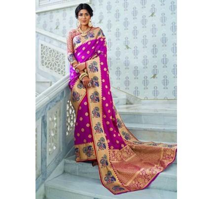 Purple Paithani Silk Traditional Saree