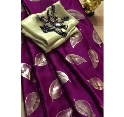 Purple satin silk saree with golden satin Blouse - silk sarees online