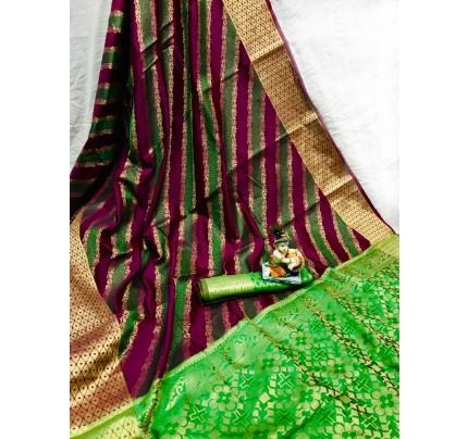 Purple Soft Pure Banarasi Patola Saree with Beautiful Weaving - gnp010055