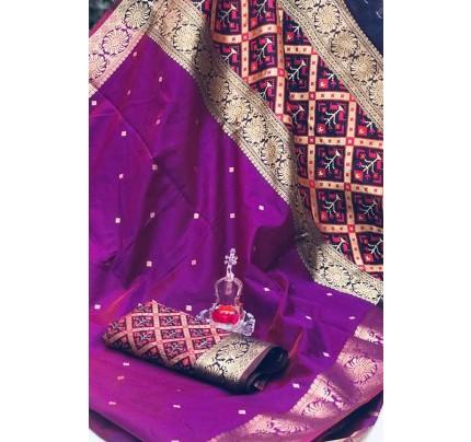 Purple Soft Banarasi Cotton Silk Saree - gnp007997