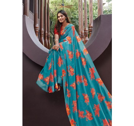 Rama Colored Beautiful Linen Silk Floral Printed Saree Online