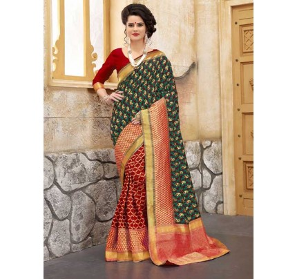 Red and Rama Colored Beautiful Soft Banarasi Silk Fancy Saree Online