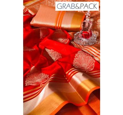 Soft Banarasi silk Weaving Saree gnp007649 - Red banarasi silk sarees online with price | grabandpack.com