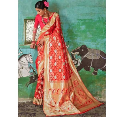 Red Color Beautiful Weaving Silk Saree - Kailashi