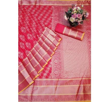 Red Colored Banarasi Silk Saree Jacquard With Rich Pallu.