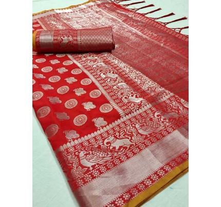 Red Colored Beautiful Branded Weaving Soft Silk Saree - Kanthpattu