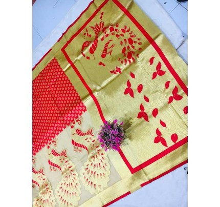 Red Colored Beautiful Soft Banarasi Silk Saree Online