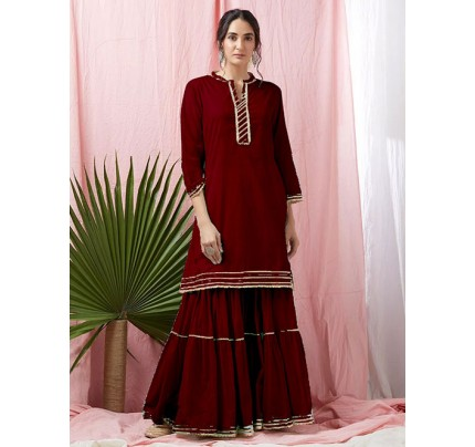 Red Colored Glorious Rayon Sharara Pant and Kurta With Gotta Patti - Eid Special