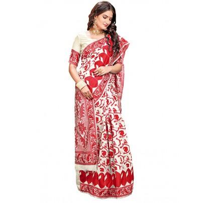 Red Cotton Silk Woven Jamdani Sari