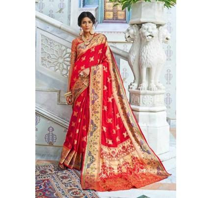 Red Paithani Silk Traditional Saree