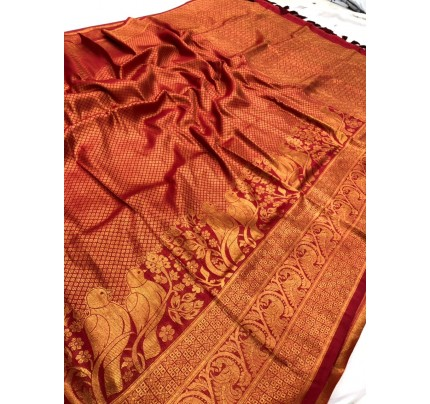 Red Pure Banarasi Silk with Pure Gold Kasab Zari Yarn - gnp010050