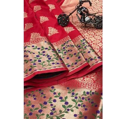 Red Silk Banarasi Handloom Saree - gnp006428