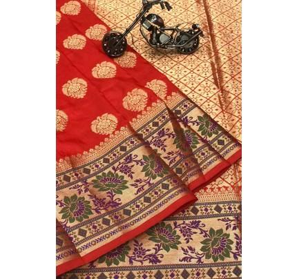 Red Silk Banarasi Handloom Saree - gnp006429