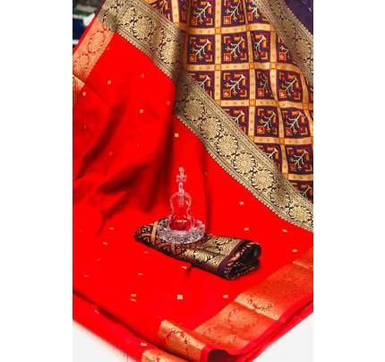 Red Soft Banarasi Cotton Silk Saree - gnp007998