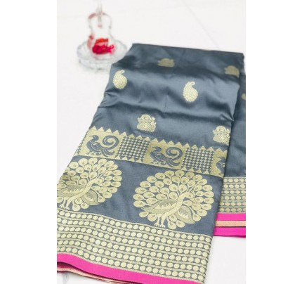 Silver Banarasi Silk Golden Zari Weaving Saree - gnp007950