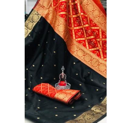 Black Soft Banarasi Cotton Silk Saree - gnp007993