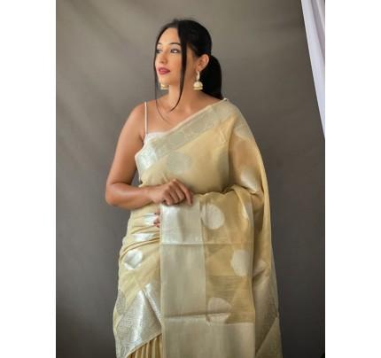 Stylish Cream Coloured Linen Tissue Silk Saree gnp0108408