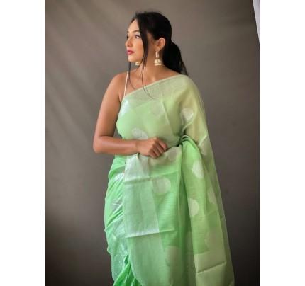 Stylish Green Coloured Linen Tissue Silk Saree gnp0108411