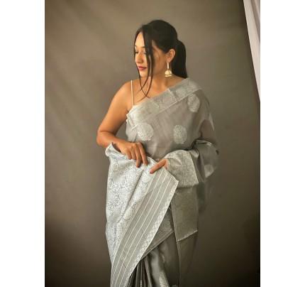 Stylish Grey Coloured Linen Tissue Silk Saree gnp0108412