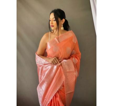 Stylish Peach Coloured Linen Tissue Silk Saree gnp0108410